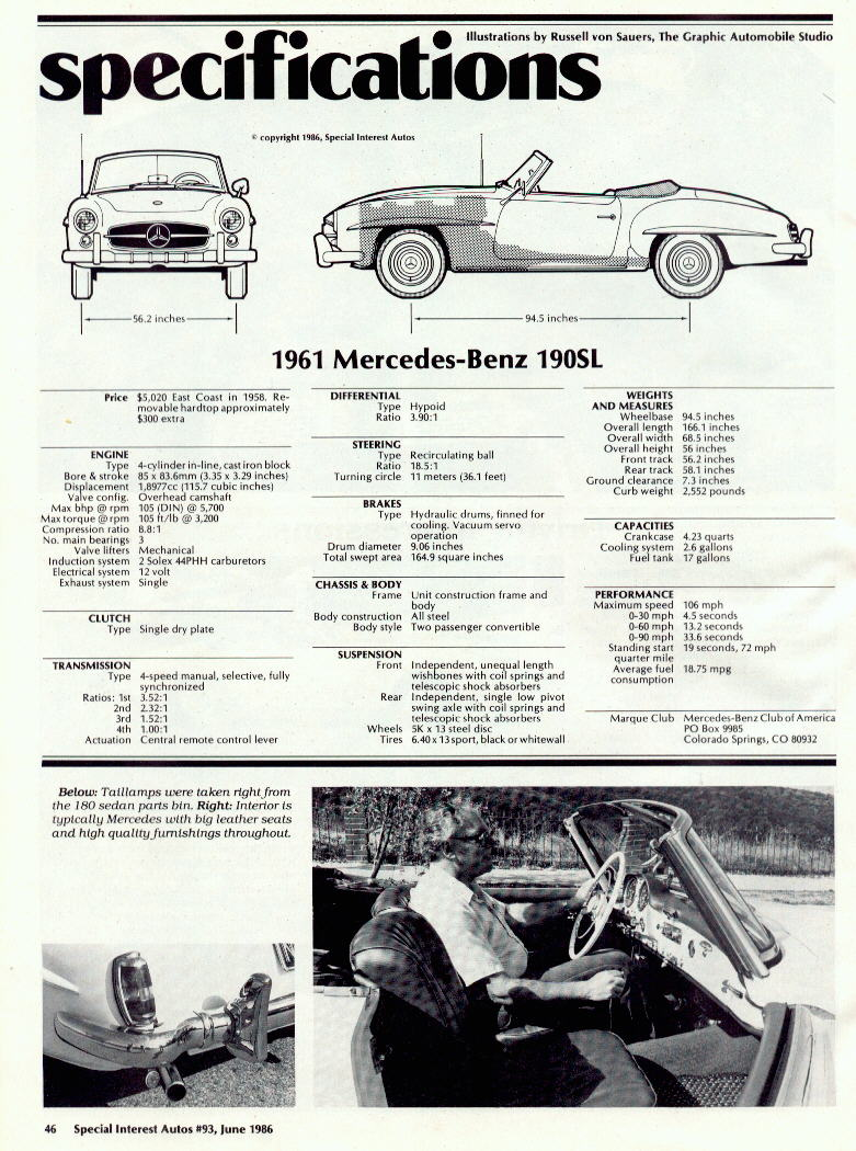 1961SL tech info Mercedes E320 Wiring Diagram at fashall.co