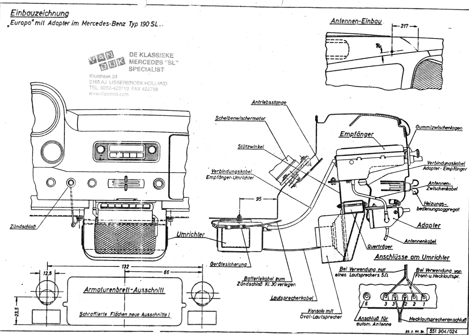190sl Technical Information 1989 Honda Wiper Motor Wiring Diagram Becker Europa Radio Illustration